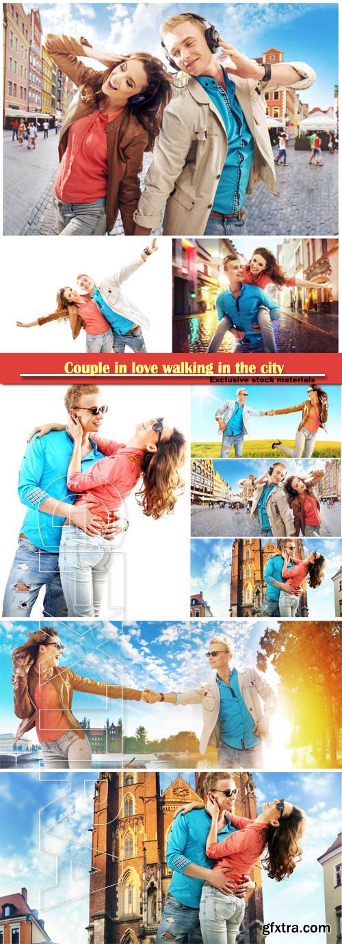Couple in love walking in the city