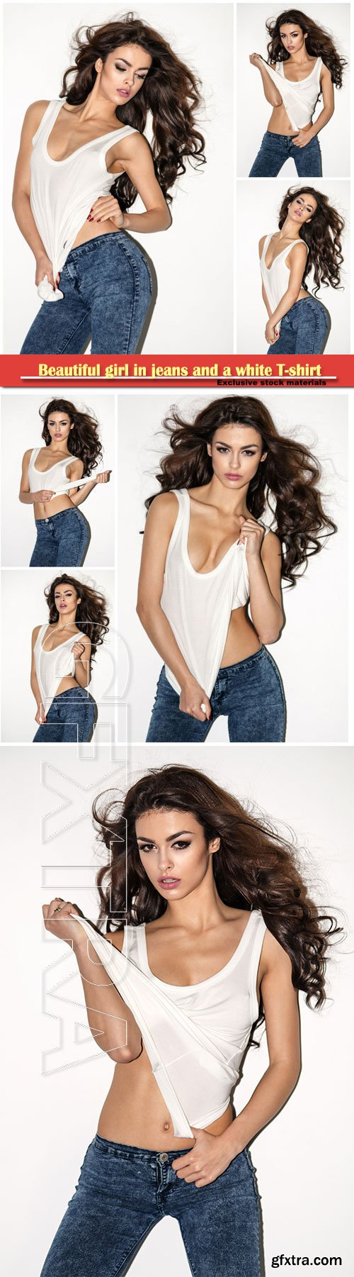 Beautiful girl in jeans and a white T-shirt
