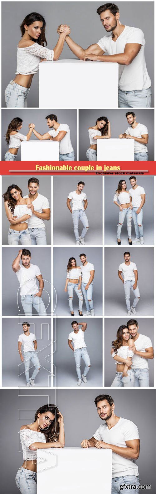 Fashionable couple in jeans