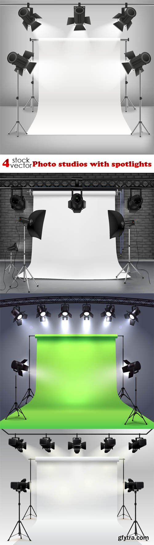 Vectors - Photo studios with spotlights