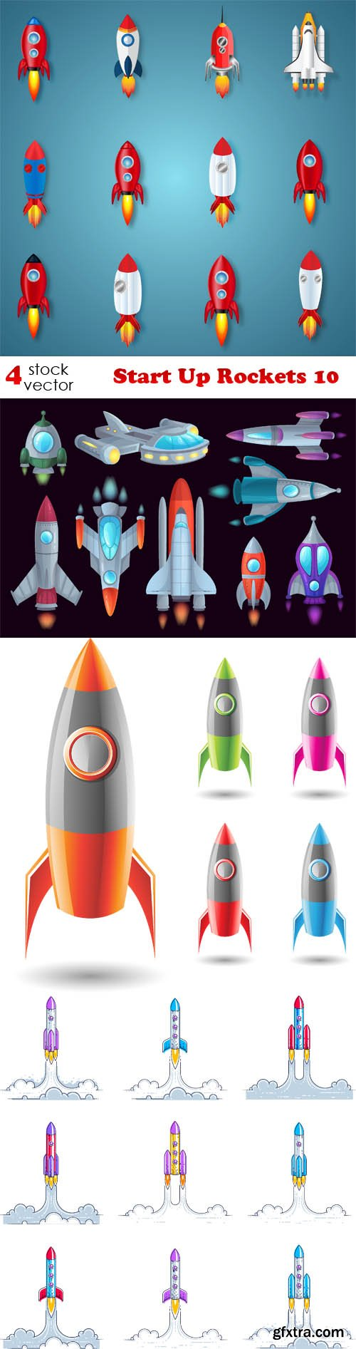 Vectors - Start Up Rockets 10