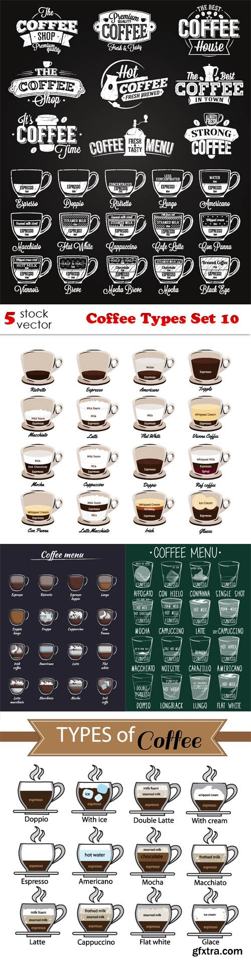 Vectors - Coffee Types Set 10