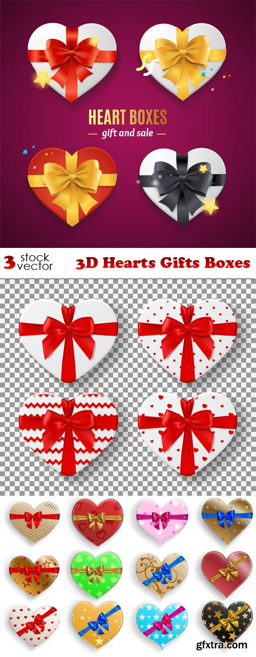 Vectors - 3D Hearts Gifts Boxes