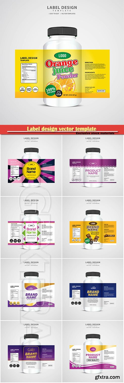 Label design vector template, brand name