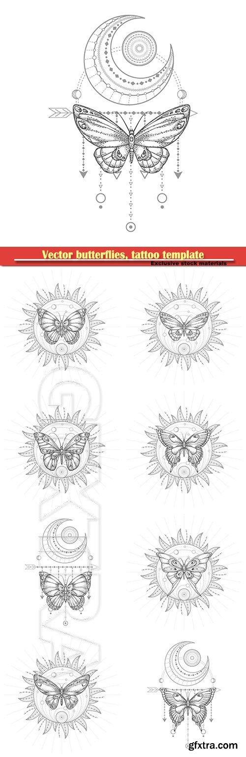 Vector butterflies, tattoo template