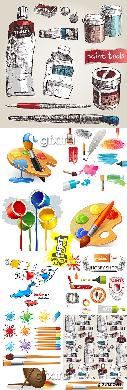 Paints, brushes and pencils Artist collection illustration