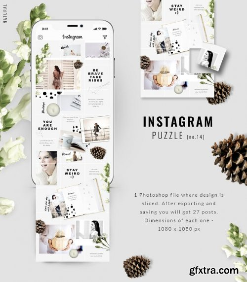 CreativeMarket - Instagram PUZZLE template - Natural 3396329