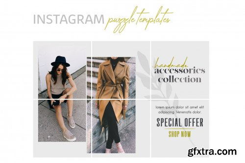 CreativeMarket - Instagram Puzzle Templates - Fashion 3446314
