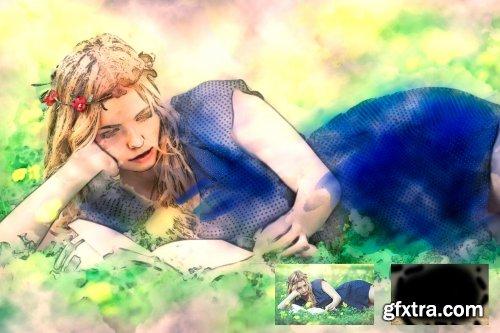 CreativeMarket - Realistic Watercolor Photoshop Action 3493068