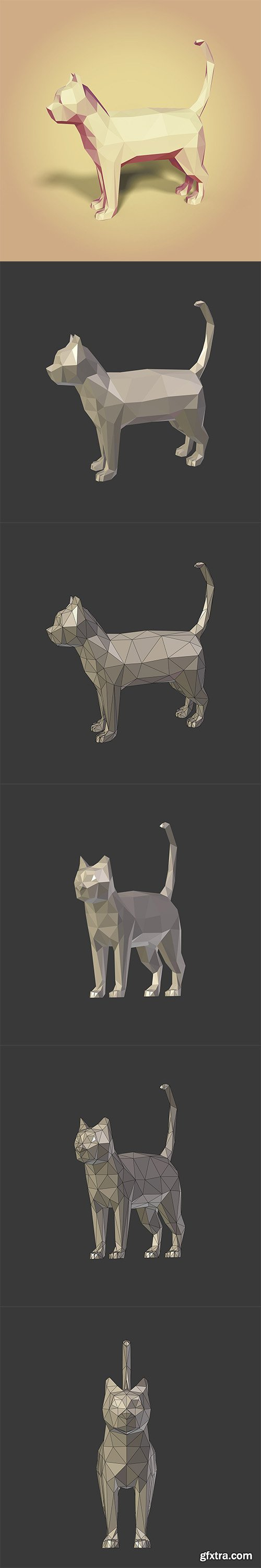 Cgtrader - Low Poly Cartoon Cat Low-poly 3D model