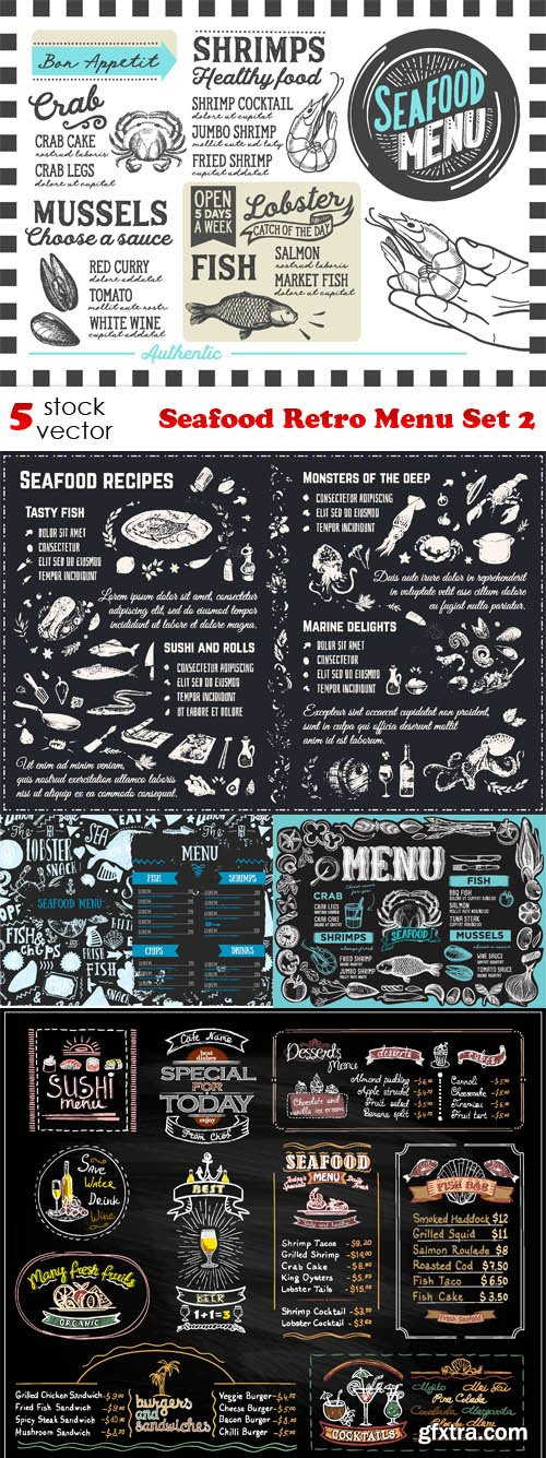 Vectors - Seafood Retro Menu Set 2