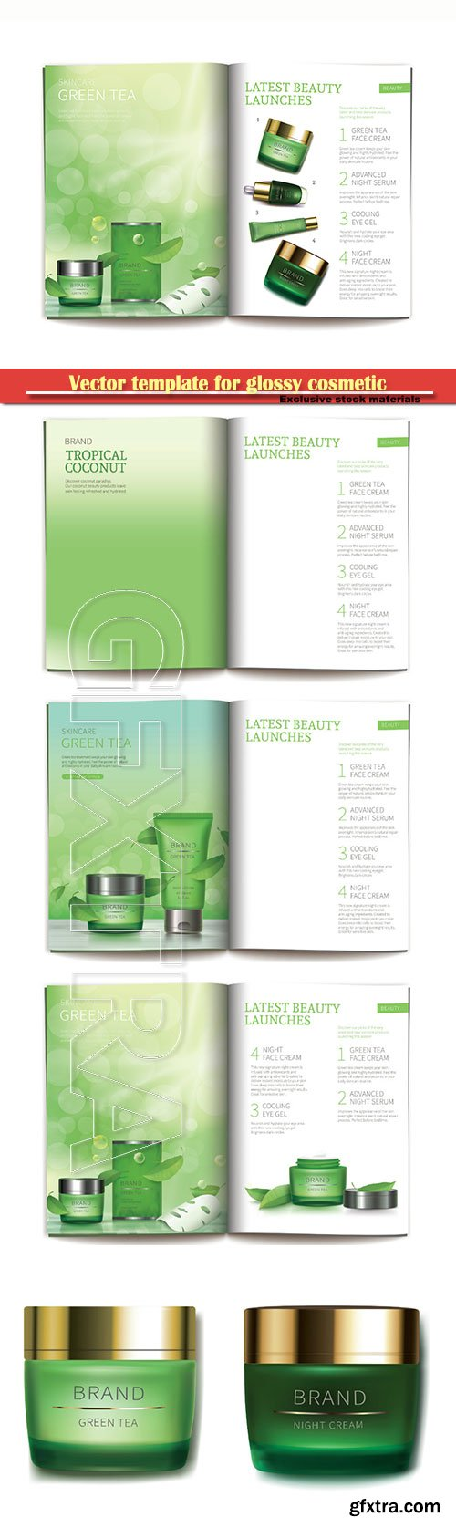 Vector template for glossy cosmetic magazine with natural cosmetics
