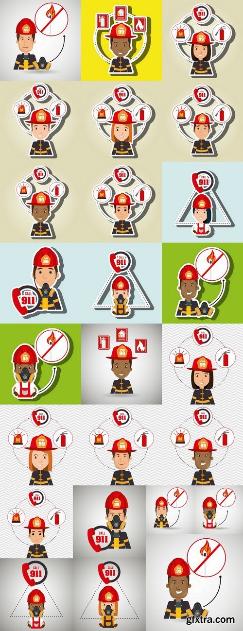 Cartoon fireman lifeguard rescue service vector image 25 EPS