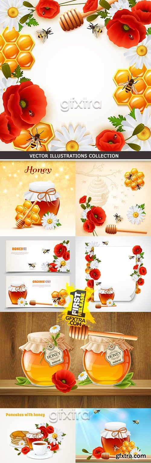 Bee honey useful and sweet dessert by breakfast