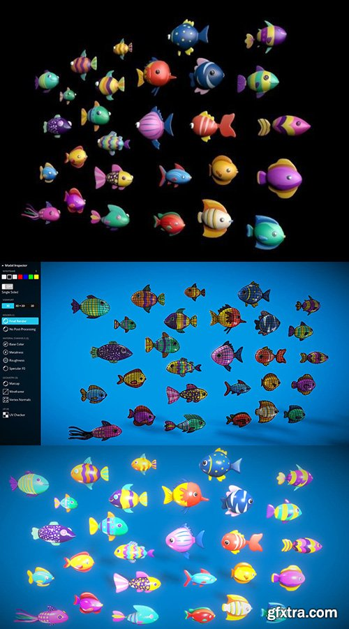 Cgtrader - Cartoon Fish Pack 2 Low-poly 3D model