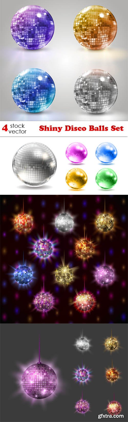 Vectors - Shiny Disco Balls Set