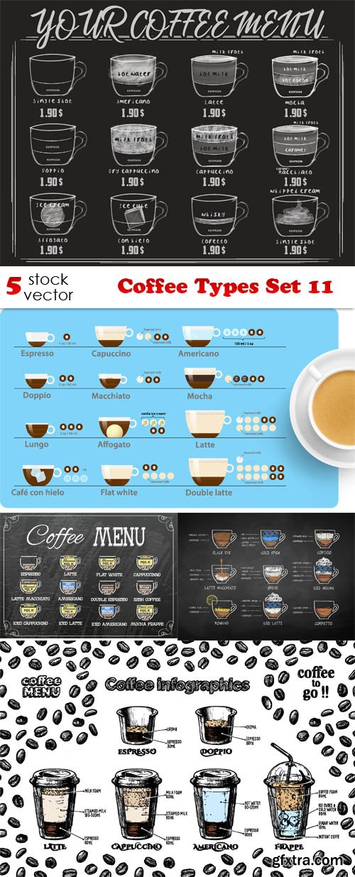 Vectors - Coffee Types Set 11