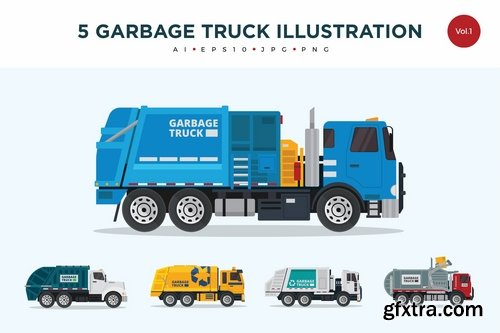 10  Recycle Garbage Truck Vector Illustration Set