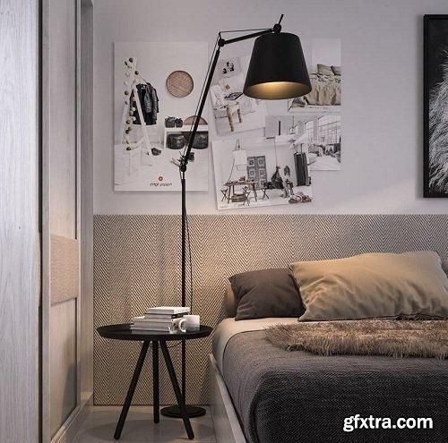Modern Bedroom Interior Scene 59
