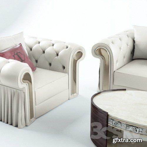 Sofa, chair, coffee table Turri Couture