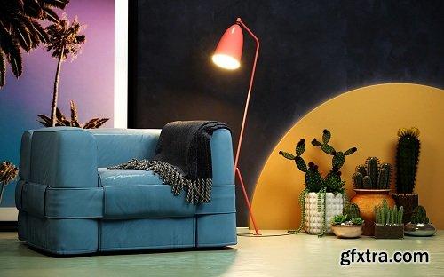 Studio Lighting & Colors Interior Scene