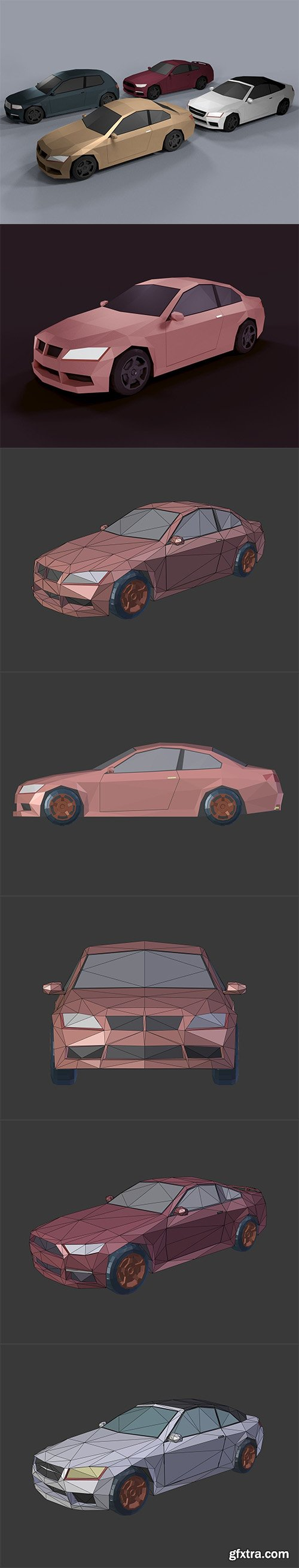Cgtrader - Low Poly Cartoon Cars Low-poly 3D model