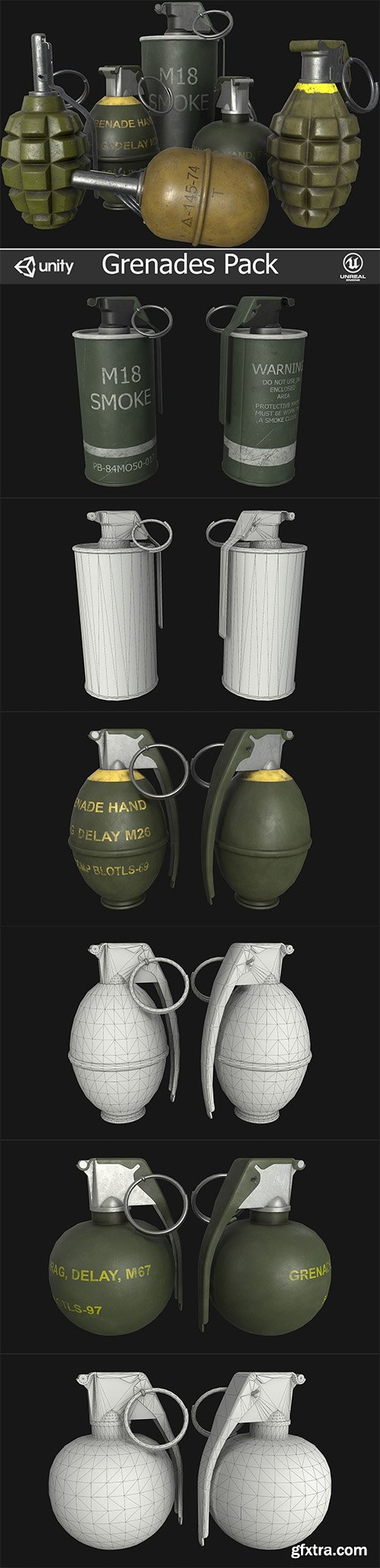 Cgtrader - Grenades Pack Low-poly 3D model