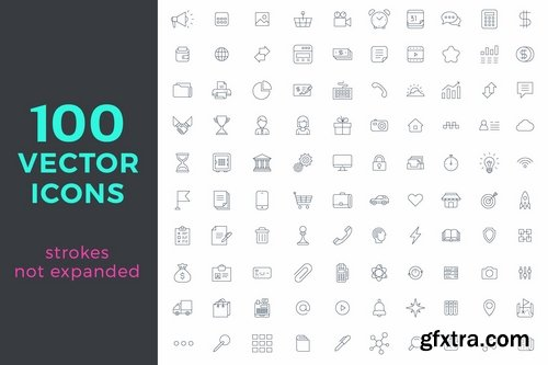 100 Universal Vector icons pack Linear style