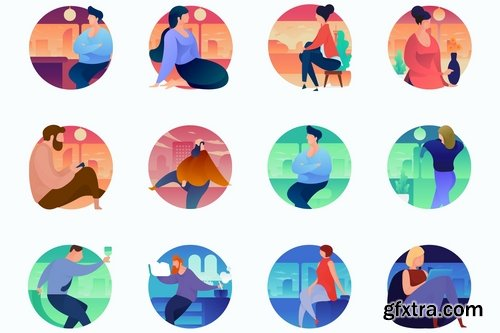 People Curvy People Concept Illustrations
