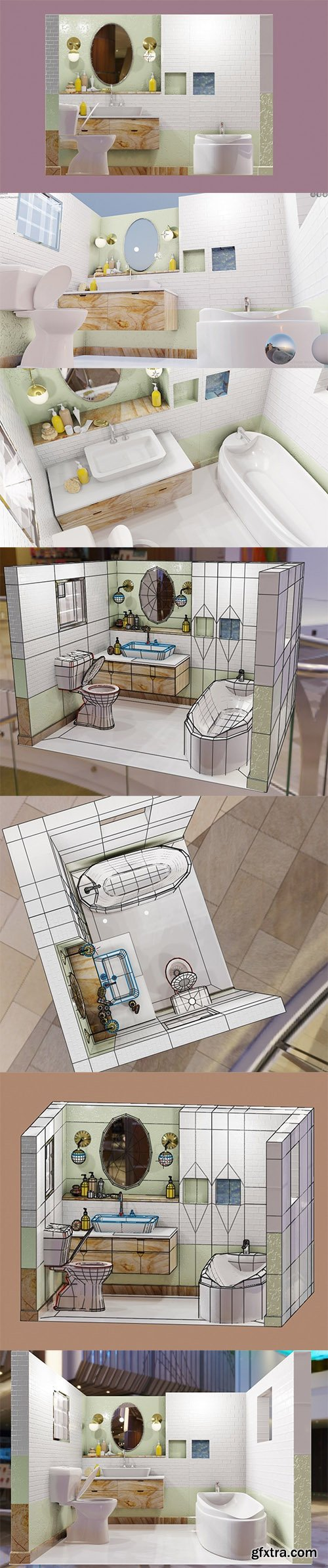 Cgtrader - bathroom scene packed with models