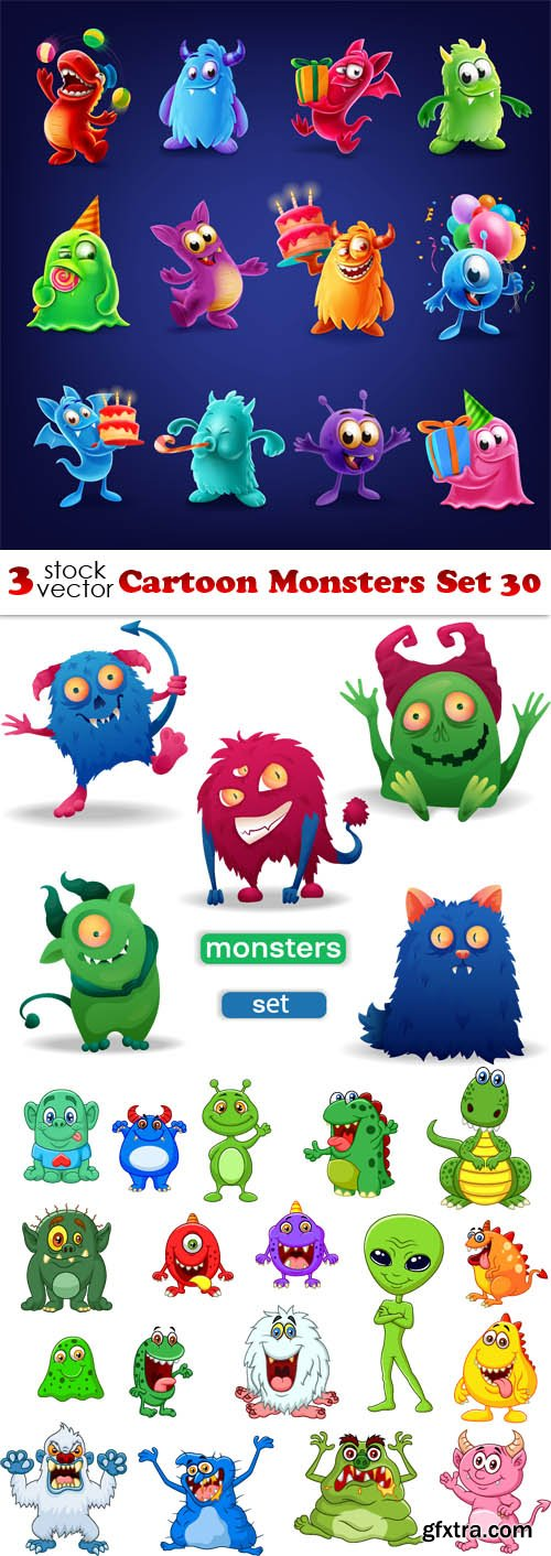 Vectors - Cartoon Monsters Set 30