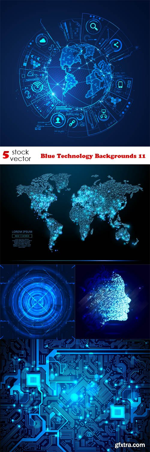 Vectors - Blue Technology Backgrounds 11