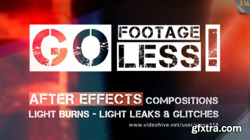 Videohive Go Footageless! - Light Burns & Glitch AE comps 8390543
