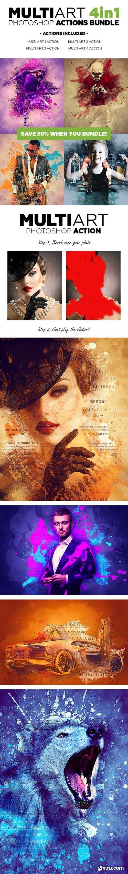 Graphicriver - Multiart 4in1 Photoshop Actions Bundle 21011936