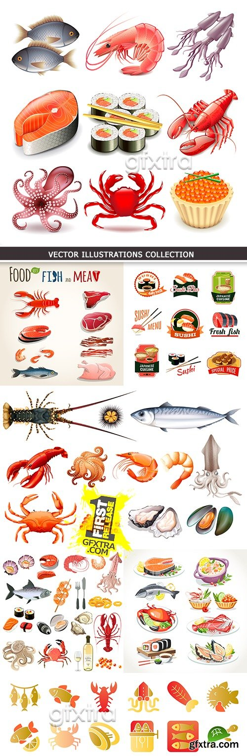 Seafood and sushi collection vector of illustrations