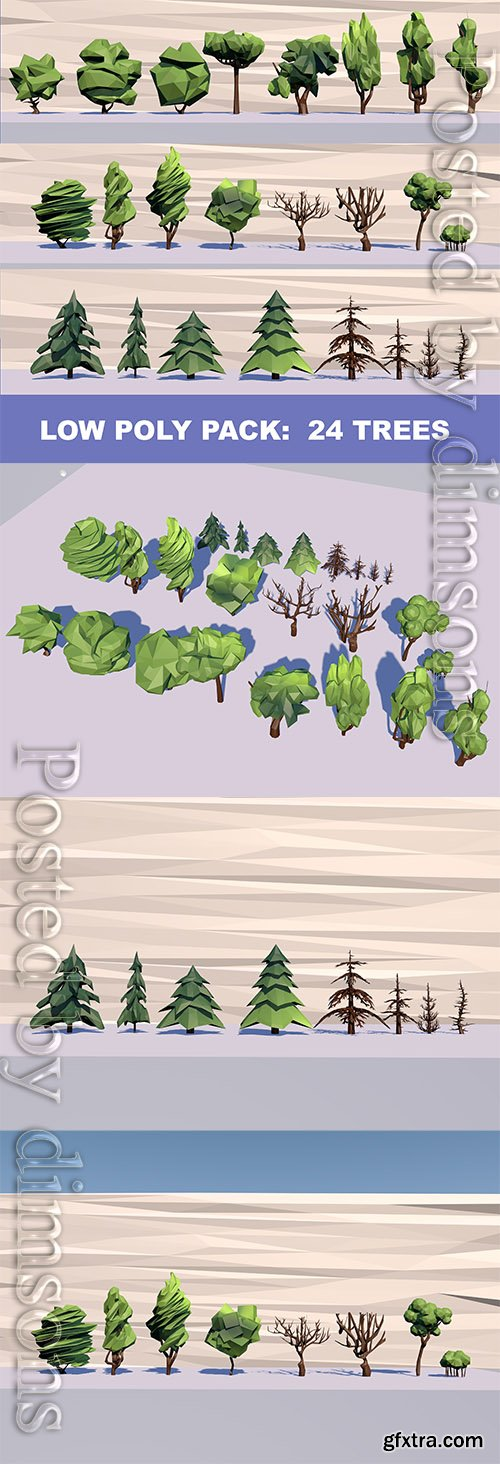 Cgtrader - 24 Trees Pack Low-poly 3D model