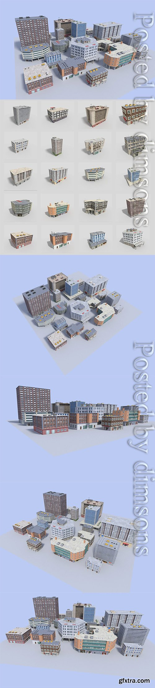 Cgtrader - 20 city building collection Low-poly 3D model