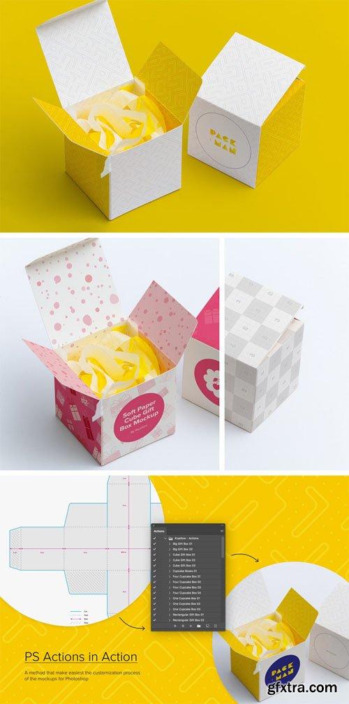 Paper Gift Box PSD Mockups Set