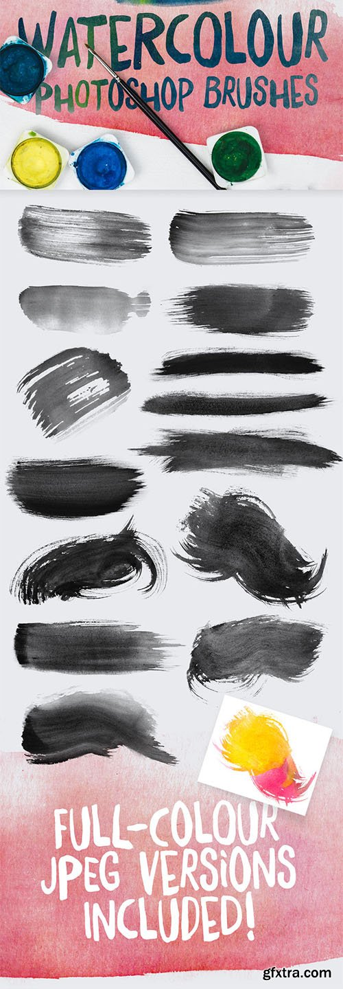 14 Watercolour Brushes for Photoshop