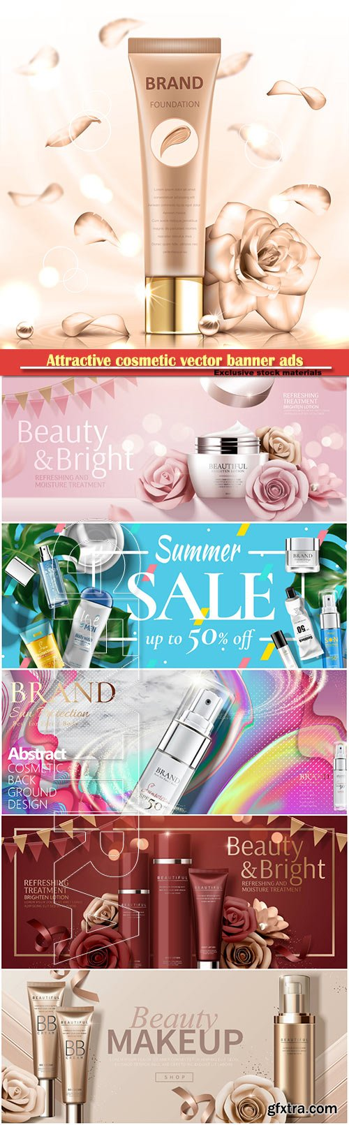 Attractive cosmetic vector banner ads