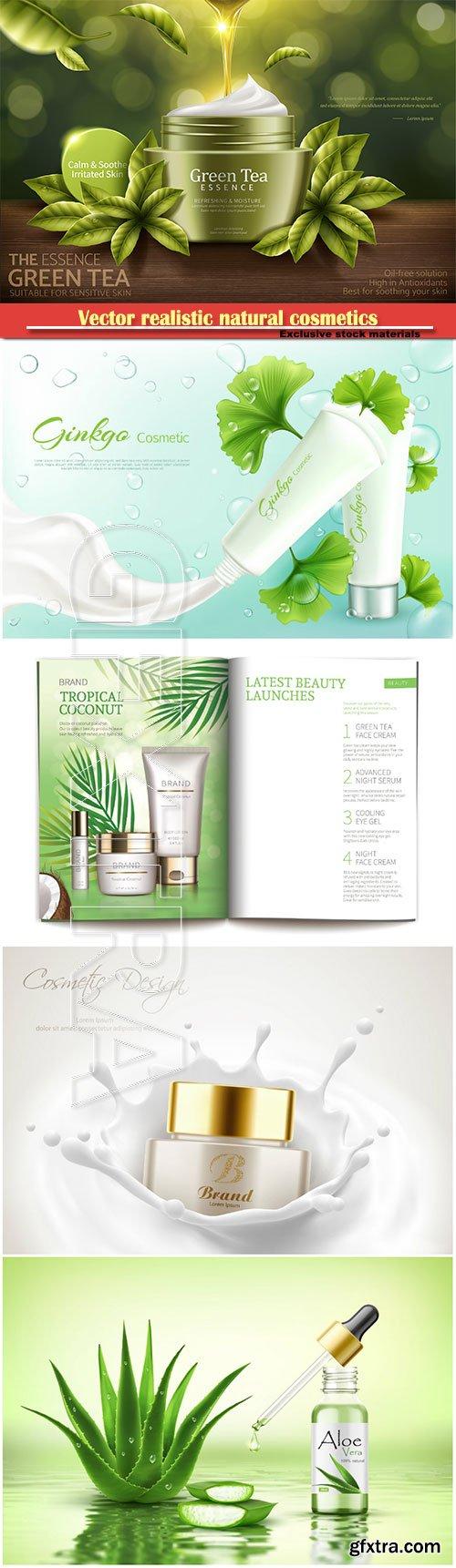 Vector realistic natural cosmetics