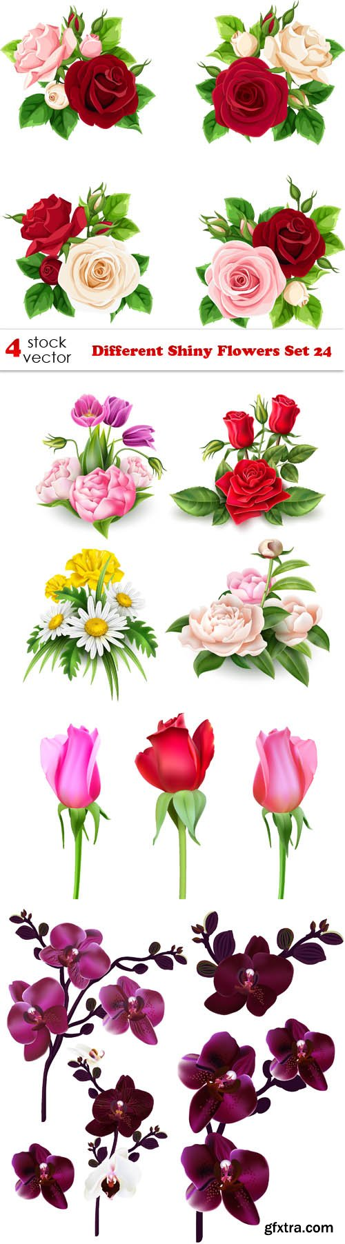 Vectors - Different Shiny Flowers Set 24
