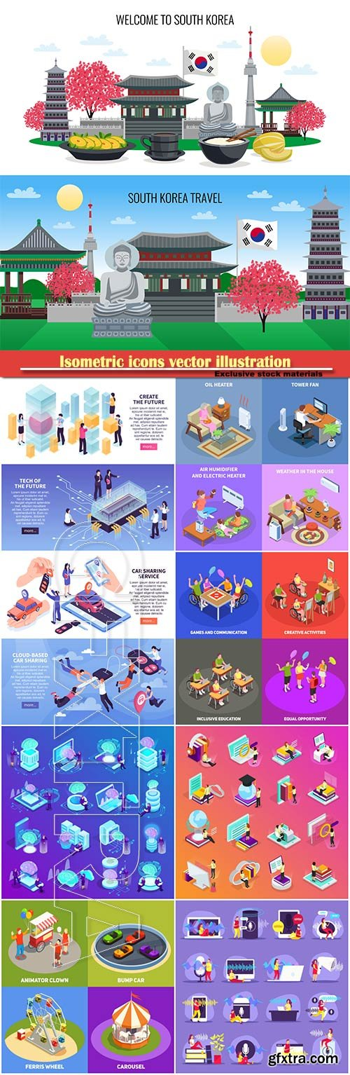 Isometric icons vector illustration, banner design template # 14