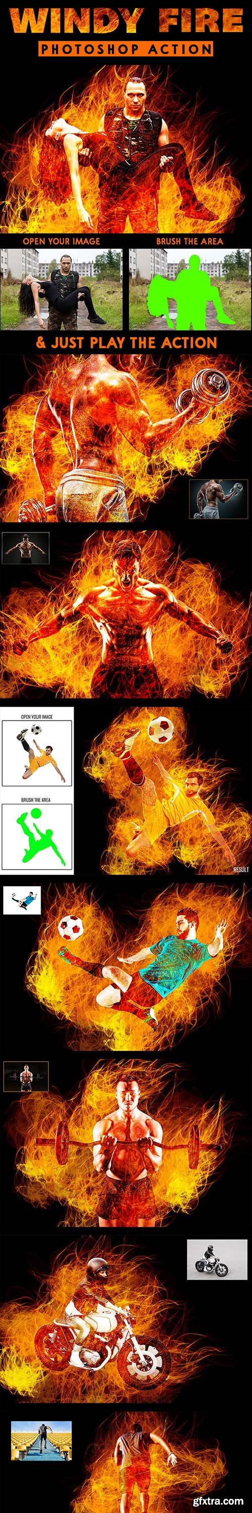 GraphicRiver - Windy Fire Photoshop Action 23430522