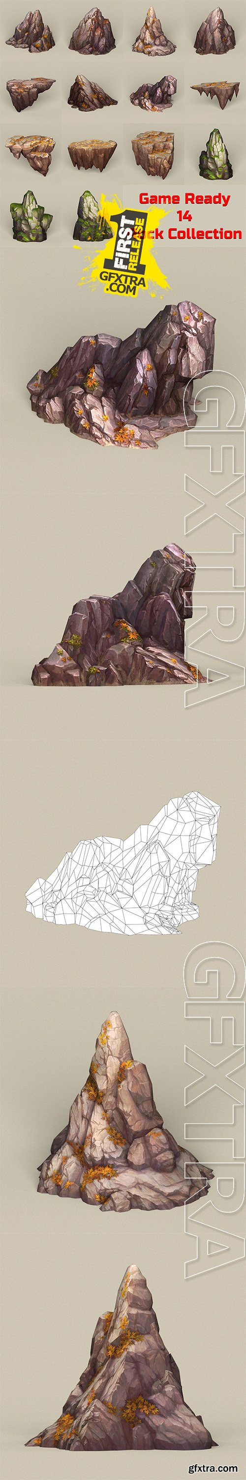Cgtrader - Game Ready Stone Rocks Collection Low-poly 3D model
