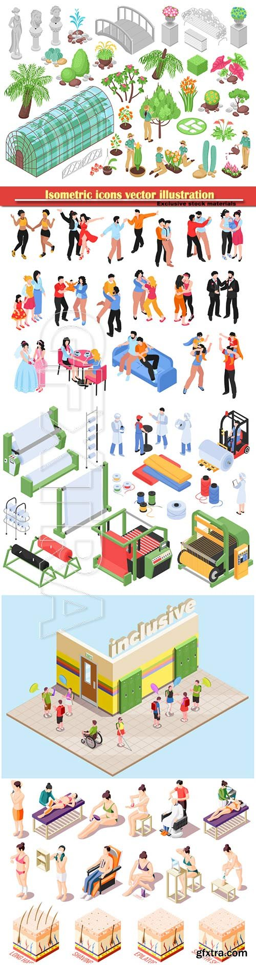 Isometric icons vector illustration, banner design template # 17