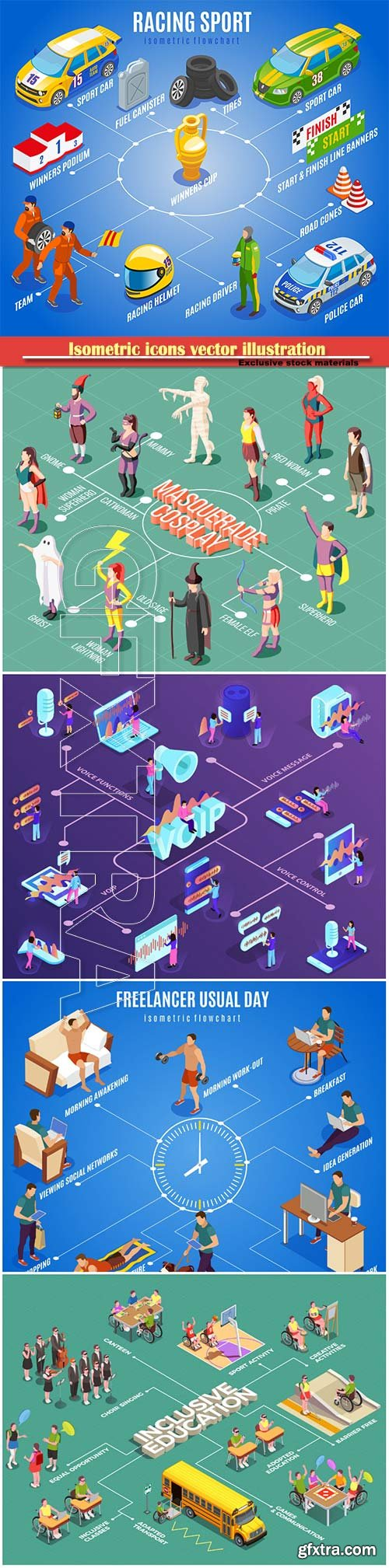 Isometric icons vector illustration, banner design template # 16