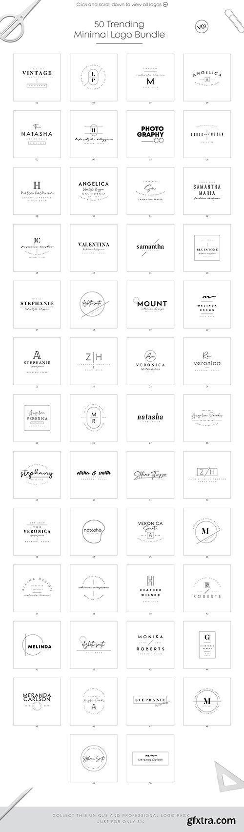 CreativeMarket - 50 Trending Minimal Logo Bundle V01 3567383