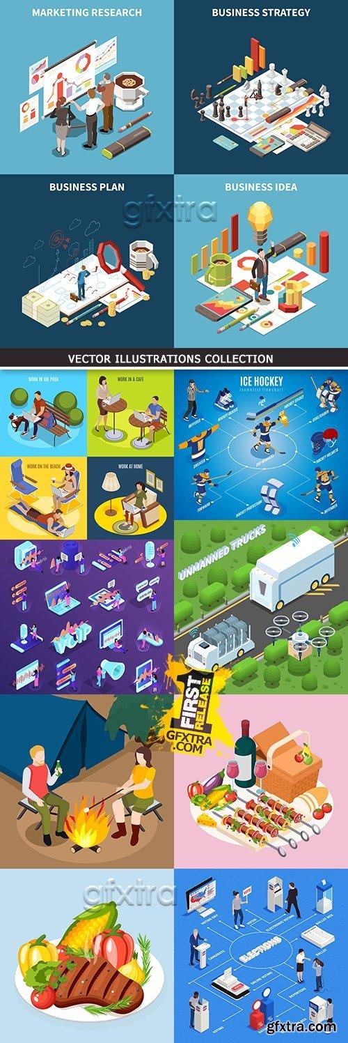 Business isometric icon marketing vector illustration