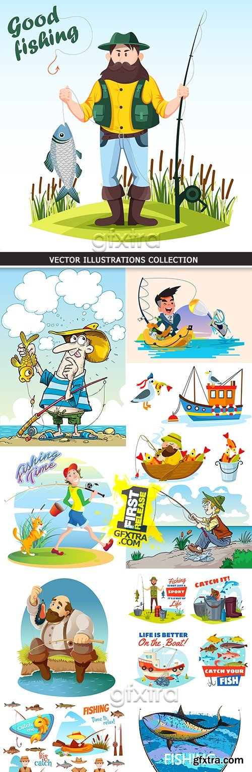 Fishing cartoon outdoors characters vector illustration